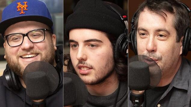 Trois hommes sont devant un micro.