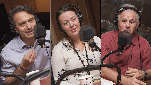 Louis Bherer, Dominique Caron et Robert Cornellier au micro de Stéphan Bureau