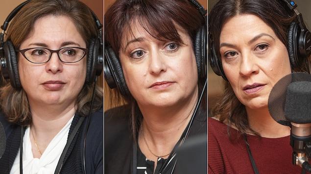 Dre Marie-Andrée Bruneau, Caroline Ménard etr Dina Karkavilas au micro de Catherine Perrin.