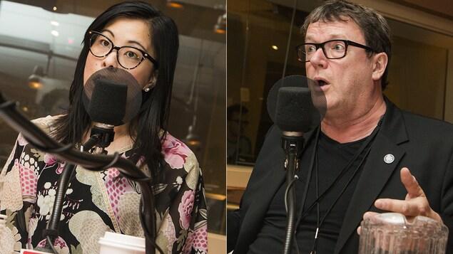 Cathy Wong et Jacques Létourneau au micro de Catherine Perrin