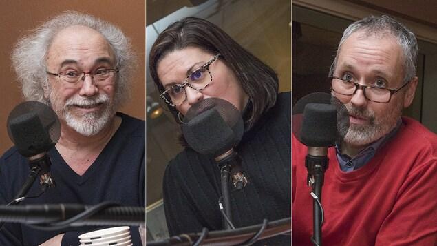 Jean-Pierre Charbonneau, Catherine Maurice et Vincent Marissal au micro de Catherine Perrin