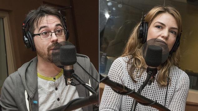 Mathieu Charlebois et Evelyne Charuest au micro de Catherine Perrin