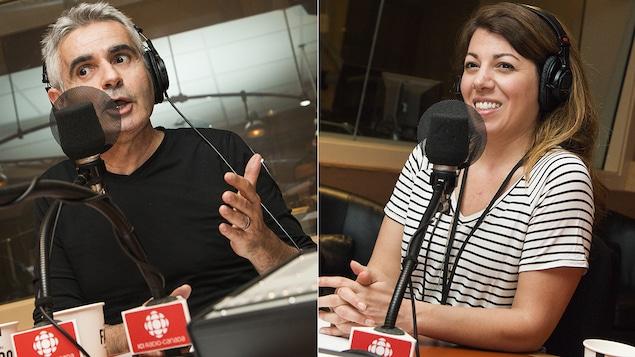 Patrice Coquereau et Marie-Claude Élie-Morin au micro de Catherine Perrin