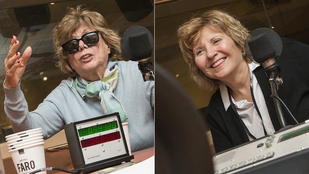 Denise Filiatrault et Danièle Lorain au micro de Catherine Perrin