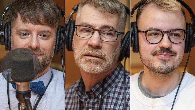 Alexandre Dumont Blais, David Thompson et Vincent Morin au micro de Catherine Perrin.