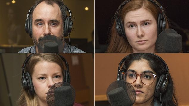 Yanick Fournier, Paméla Dumont, Judith Lussier et Asmina Thirunavukarasu au micro de Catherine Perrin.