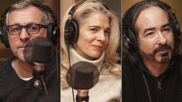 Patrick Huard, Macha Grenon et Jacques Diamant au micro de Catherine Perrin.