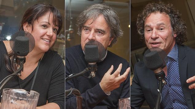 Isabelle Senécal, Pierre Thibault et Ugo Cavenagi au micro de Catherine Perrin