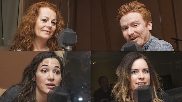 Andrée Jetté, Louis-Sébastien Hamelin, Karima Brikh et Milaine Alarie au micro de Marie Grégoire
