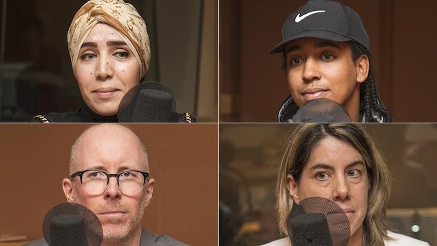 Khadidja Kamel, Nicholas Maniatis, Philippe Gagné et Myra Deraîche au micro de Catherine Perrin.