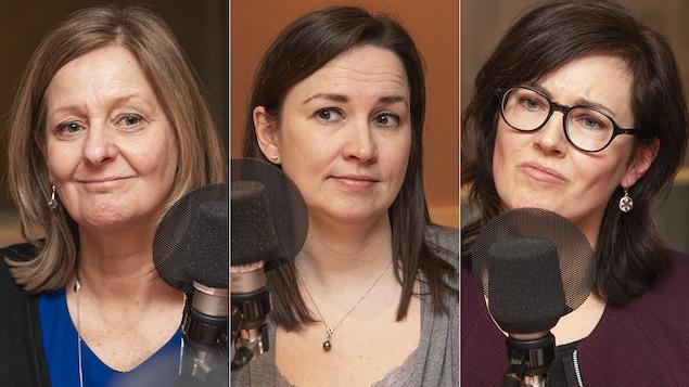 Ghislaine Labelle, Francine Sabourin et Kathryn Peterson au micro de Catherine Perrin.