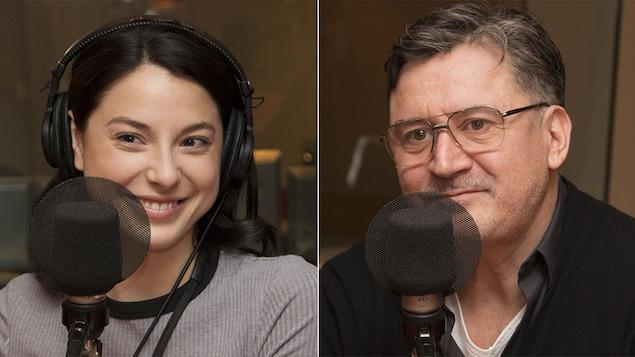 Les comédiens Mylène St-Sauveur et François Papineau au studio 18 de Radio-Canada, à Montréal, le 13 novembre 2017