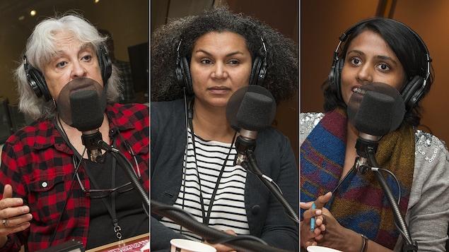 Raymonde Provencher, Maud Pontel et Kavitha Culasingam au micro d'Isabelle Craig