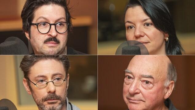 Dominic Raîche, Isabelle Craig, Paul Dwaine Fournier et Pierre Gingras au micro de Catherine Perrin.
