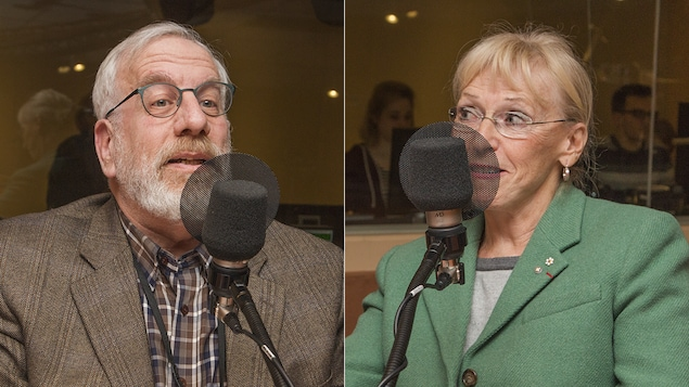 Michel Seymour et Françoise Bertrand au micro de Catherine Perrin