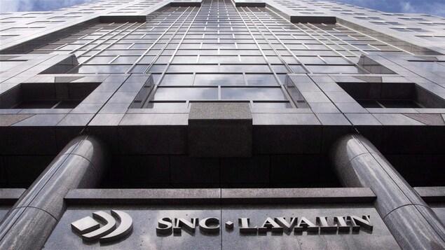 Devanture du siège social de SNC-Lavalin, à Montréal.