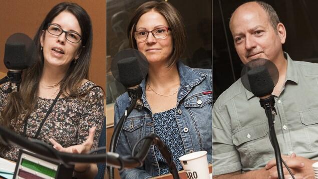 Sophie Thériault, Brigitte Fafard et Stéphane Benoît au micro de Catherine Perrin