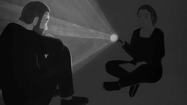 Le dessin d'une femme assise éclairant à la lampe de poche un homme assis en face d'elle.
