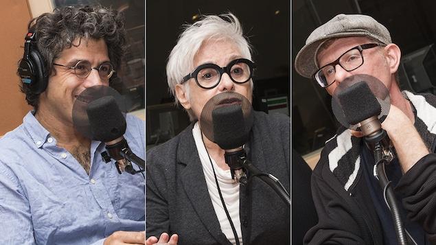 Jean-Philippe Warren, Louise Latraverse et Aleksi K. Lepage au micro de Stéphan Bureau