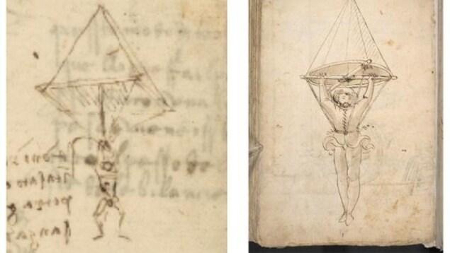 Montage de deux dessins d'archives de parachute.