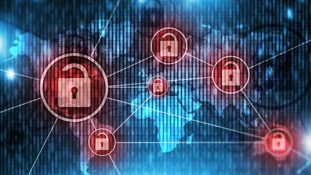 Une infographie montrant des réseaux de communications aux prises avec une cyberattaque.