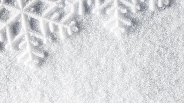 De gros flocons reposent sur un tapis de neige.