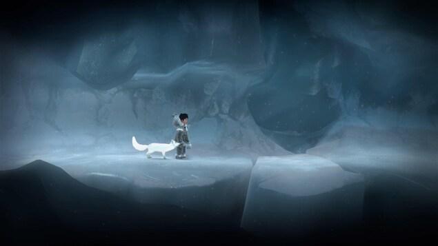 Un personnage et son animal affrontent le blizzard.