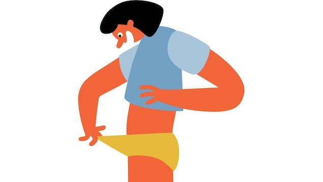 Illustration d'un personnage à la peau orange regarde dans ses culottes avec un sourire enthousiaste.