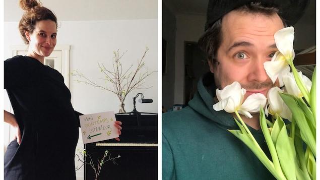 Véronique montre son beau bedon de femme enceinte et Steve se tient derrière un bouquet de fleurs blanches.