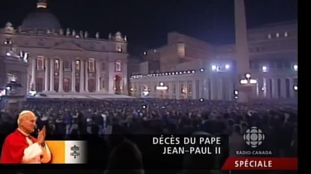 Image diffusée le soir du 2 avril 2005 de la place et de la basilique Saint-Pierre durant l'émission spéciale sur le décès de Jean-Paul II.