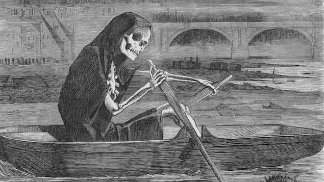 Caricature de la Mort qui rame sur la Tamise pendant la Grande Puanteur de Londres.