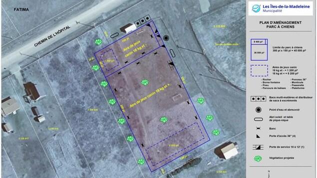 Un plan d'aménagement d'un parc à chiens.