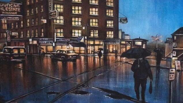 Une toile montrant une ville.