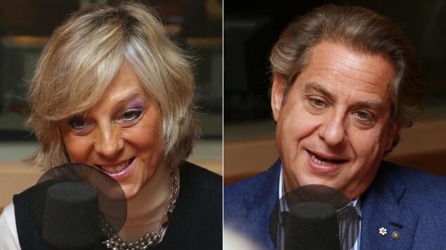 Hélène Mercier et Alain Lefèvre devant des micros de radio.