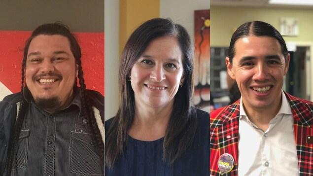 Collage du portrait des trois personnes.