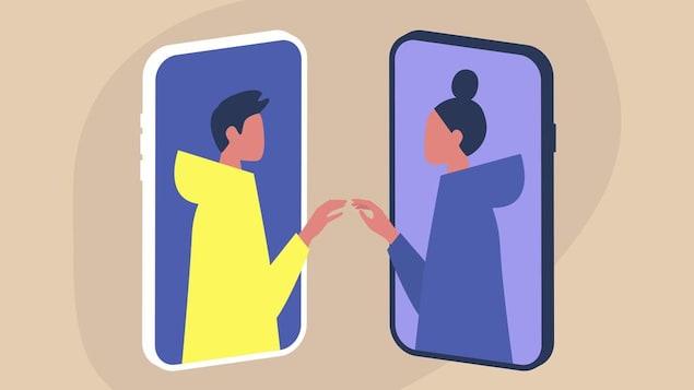Illustration de deux écrans de téléphone desquels sortent les silhouettes d'un homme et d'une femme qui se touchent.