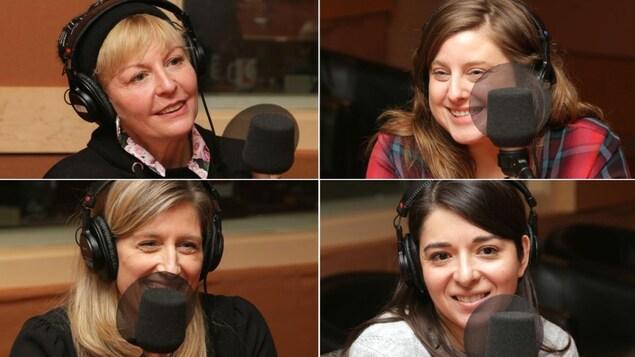 Montage de quatre photos de Marie-Chantal Perron, Myriam Comtois, Nadia Gagnier et Marie-Michèle Giguère
