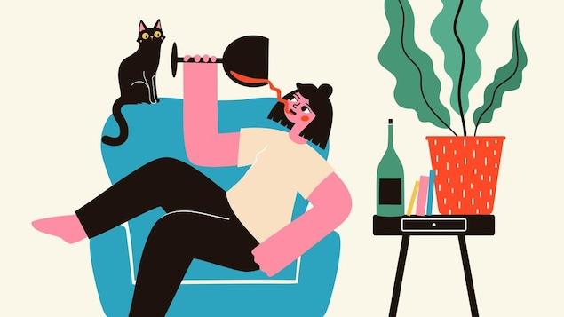 Illustration d'une jeune femme qui boit un verre de vin rouge dans un grand fauteuil avec son chat.