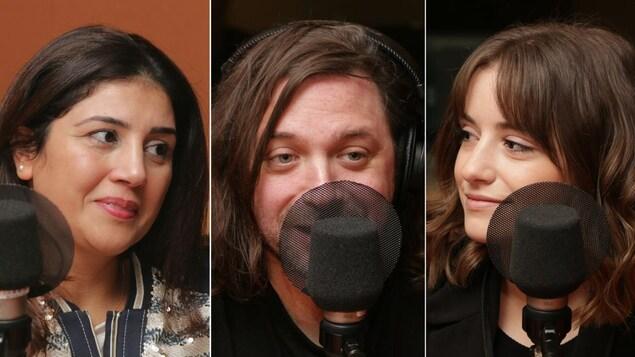 Montage de trois photos de Ghada Touir, Christian Lapointe et Gabrielle Arguin devant un micro de radio.