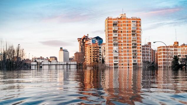 Des immeubles ont les pieds dans l'eau.