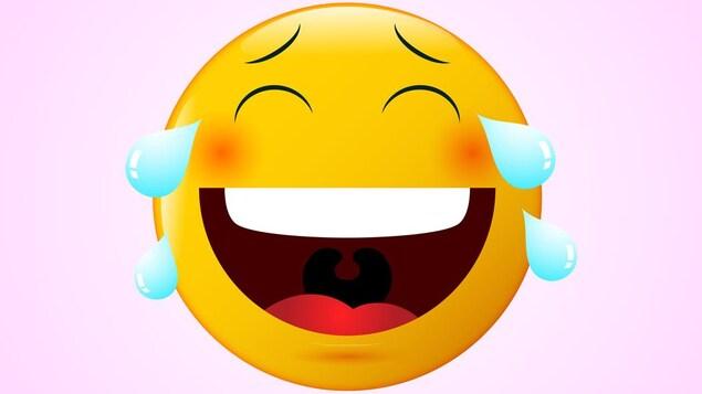 Illustration de l'émoji qui pleure de rire.