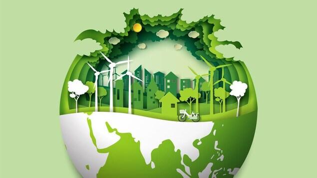 Illustration d'une ville avec des arbres, des immeubles, un vélo et des éoliennes sort de la planète Terre.