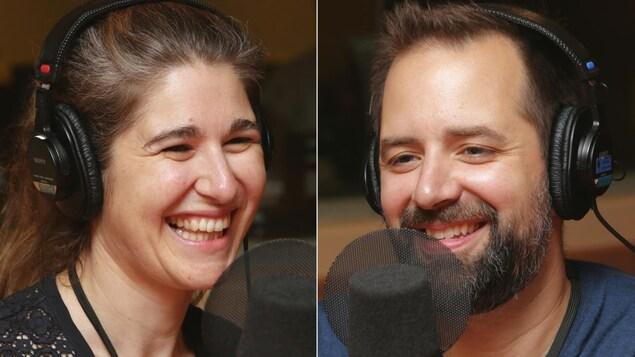 Montage de deux photos de Nicole Car et d'Étienne Dupuis devant des micros de radio.