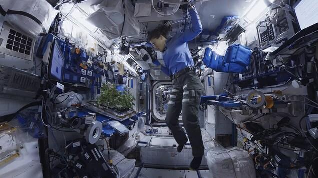 Une femme en apesanteur à l'intérieur de la station spatiale.