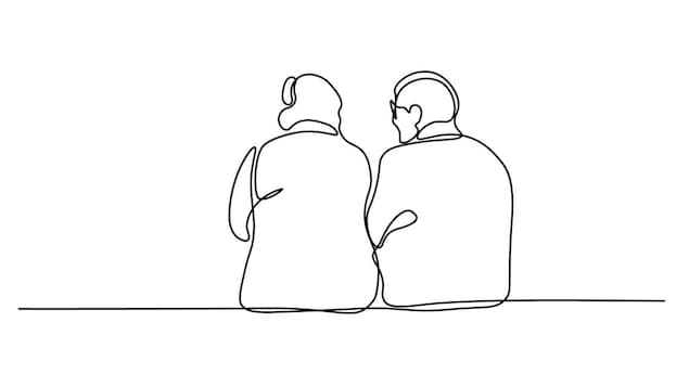 Illustration de deux personnes aînées qui discutent assises côte-à-côte.