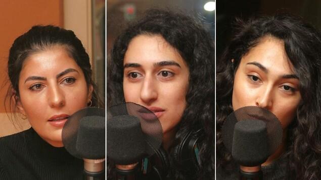 Montage de trois photos de Zaynê Akyol, Beritan Oerde et Delphine Azak