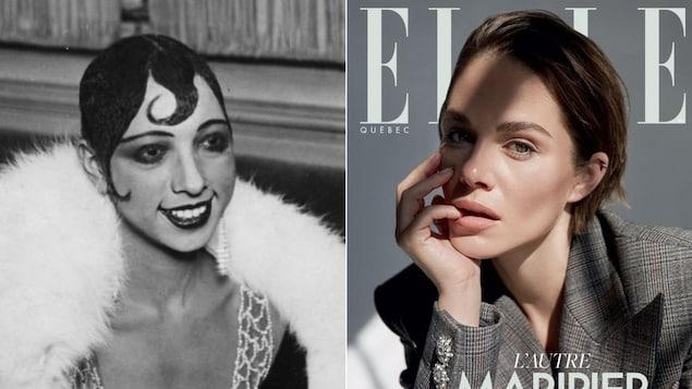 À gauche, photo de Joséphine Baker en noir et blanc, et à droite, couverture du magazine Elle Québec avec Maripier Morin qui pose.