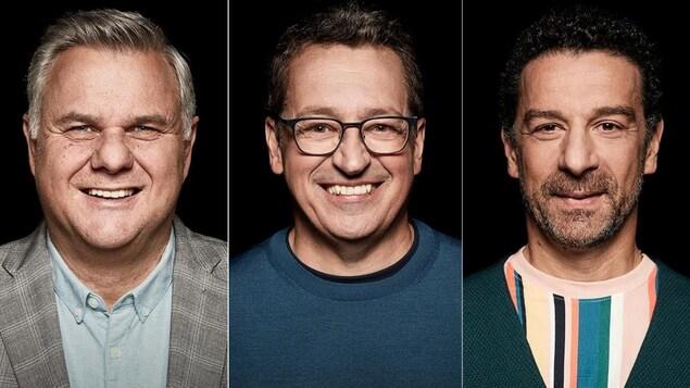 Montage de trois photos de Jean-Luc Boulay, Normand Laprise et Pasquale Vari.