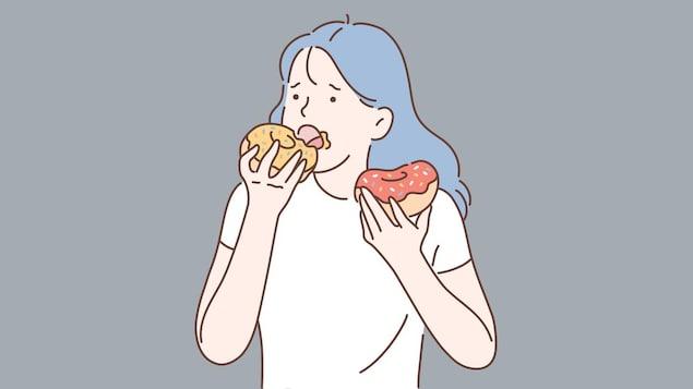 Dessin d'une femme qui mange deux beignes qu'elle tient dans ses mains.