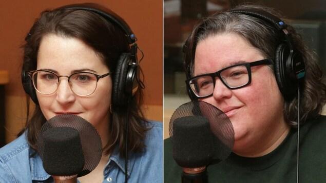 Montage de deux photos de Odrée Rousseau et Justine Philie devant des micros de radio.